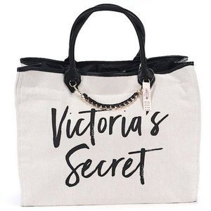 VICTORIA'S SECRET canvas logo script tote bag